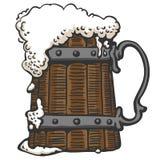 Пенообразное пиво в кружке иллюстрация штока