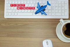 Первая минута для того чтобы купить билет на самолет Стоковые Изображения RF