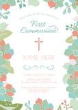 Первая общность, крещение, крестя шаблон приглашения с флористической границей Стоковые Изображения RF