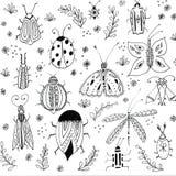 Первая предпосылка цветков весны Флористические элементы, чертежи насекомых Иллюстрации руки вычерченные ботанические Сад и иллюстрация штока