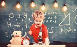 Первое бывшее заинтересованное в изучать, учащ, образование Оягнитесь мальчик около микроскопа в классе, доске на предпосылке стоковое фото rf