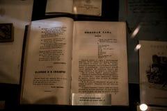 Первое издание ` рассказа ферзь ` лопат - интерьера музея Александра Pushkin мемориального в Москве стоковые изображения