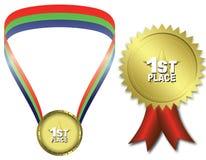 первое место золотой медали иллюстрация вектора