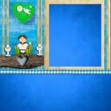 Первое приглашение рамки фото общности для мальчика Стоковые Фотографии RF