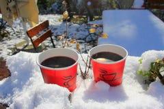 первое теплое обдумыванное вино в снеге стоковые фотографии rf