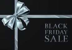 Первоклассный черный дизайн смычка ленты серебра продажи пятницы иллюстрация вектора
