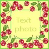 Первоначальная рамка для фото и текста Сладкие сочные ягоды вишни создают праздничное настроение Идеальный подарок для детей и вз иллюстрация вектора