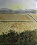 Первоначально акриловая картина пути осени с листьями оранжевых и красного цвета бесплатная иллюстрация