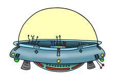 Первоначально изображение нарисованное рукой цифровое UFO Стоковое Изображение