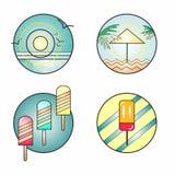 Первоначально и творческие значки лета Стоковое Изображение