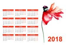Первоначально календарь на 2018 Стоковые Фотографии RF