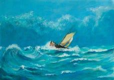 Первоначально картина маслом сиротливого маленького парусного судна сражая внутри бесплатная иллюстрация