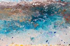 Первоначально картина, художественное произведение, масло на холсте, волны моря и белый b Стоковое Изображение