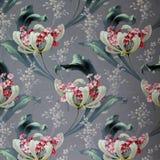 Первоначально орнамент текстильной ткани современного стиля Глиняный кувшин покрашенный вручную с гуашью Стоковые Фото