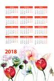 Первоначально флористический календарь 2018 с цветками Стоковое Фото