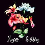 Первоначально цветки с названием с днем рождения Стоковое Фото