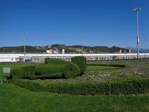 Первоначально цветник, гоночный автомобиль, который выросли от зеленого куста, в олимпийском парке, Сочи, Россия Стоковое Изображение RF