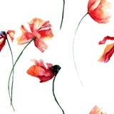 Первоначально безшовная картина с цветками маков Стоковое фото RF