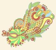 Первоначально линия дизайн притяжки руки цветка искусства богато украшенный Стоковые Фотографии RF