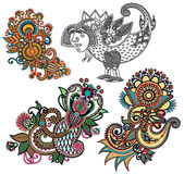 Первоначально линия дизайн притяжки руки цветка искусства богато украшенный Стоковые Фото