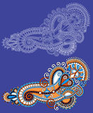 Первоначально линия дизайн притяжки руки цветка искусства богато украшенный Стоковая Фотография