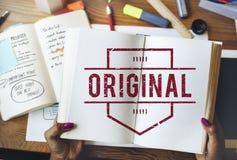 Первоначально концепция графика товарного знака продукта патента бренда Стоковая Фотография