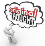 Первоначально мысль 3d формулирует идею мыслителя творческую с большим воображением новую Стоковая Фотография