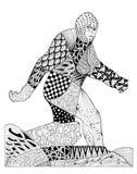 Первоначально рисовать zentangles снежного человека Стоковое Изображение