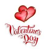 Первоначально рука помечая буквами счастливый день валентинки на белой предпосылке Стоковое фото RF