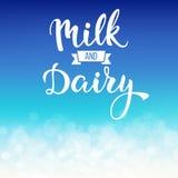 Первоначально рукописные молоко и молокозавод текста Стоковое Изображение RF