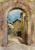 Первоначально строб камня иллюстрации акварели в Assisi, Италии Стоковые Изображения