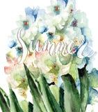 Первоначально флористическая предпосылка с цветками Стоковые Фото