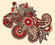 Первоначально цифровая линия цветок притяжки искусства богато украшенный Стоковое Изображение RF