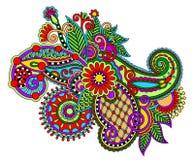 Первоначально цифровая линия цветок притяжки искусства богато украшенный Стоковые Фото