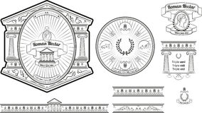 Первоначально ярлык и baners пива конструируют с старыми римскими элементами Стоковые Изображения