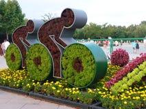 Первоначально flowerbed в олимпийском парке города Beidaihe Стоковое Изображение RF