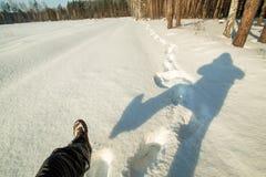 первоначально selfie в лесе зимы Стоковое Фото