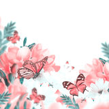 Первоцвет и бабочка весны желтые стоковая фотография
