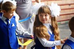 Первые грейдеры на празднике, назад к школе Стоковая Фотография