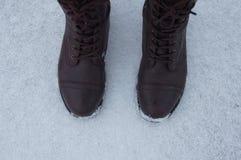 Первые шаги в снеге Стоковые Фото