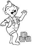 первые шаги младенца черные белые Стоковая Фотография RF