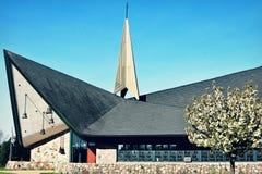 Первый евангелистский лютеранин Chuch - женевское озеро, WI стоковые фотографии rf