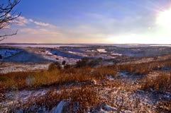 Первый день зимы покрытые Снег деревья в холмах снега f стоковая фотография