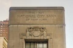 Первый национальный городской банк Нью-Йорка Стоковые Фото