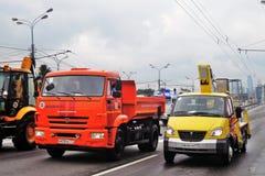 Первый парад Москвы перехода города Деловый центр Moskva-города Стоковые Фото