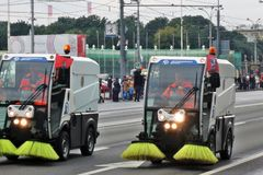 Первый парад Москвы перехода города Стоковое Изображение