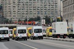 Первый парад Москвы перехода города Стоковые Фотографии RF