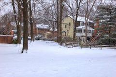 Первый снег в McLean Вирджинии Стоковая Фотография RF