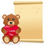 Пергамент дня валентинки s плюшевого медвежонка Стоковые Фотографии RF