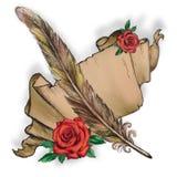 Пергамент, перо, красная роза, иллюстрация бумаги стоковая фотография rf